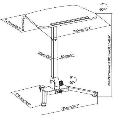 Gas Spring Height Adjustable Folding Workstation (White)